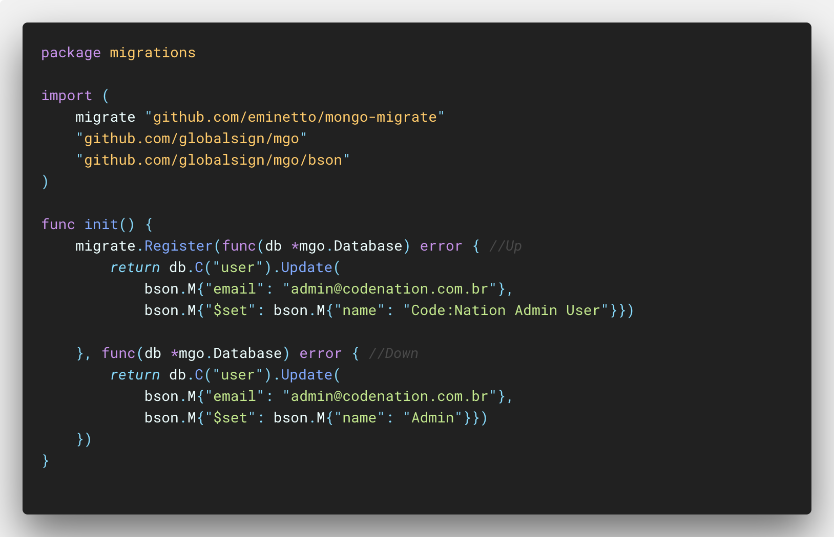 data migration with golang